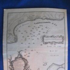 Arte: MAPA DE LA BAHÍA DE CÁDIZ Y ROTA (ESPAÑA), 1744. BASIRE /RAPIN. Lote 121062579