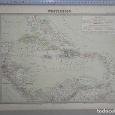 Arte: MAPA DE AMÉRICA CENTRAL, CARIBE Y NORTE DE SUDAMÉRICA, 1850. BROMME. Lote 121586431