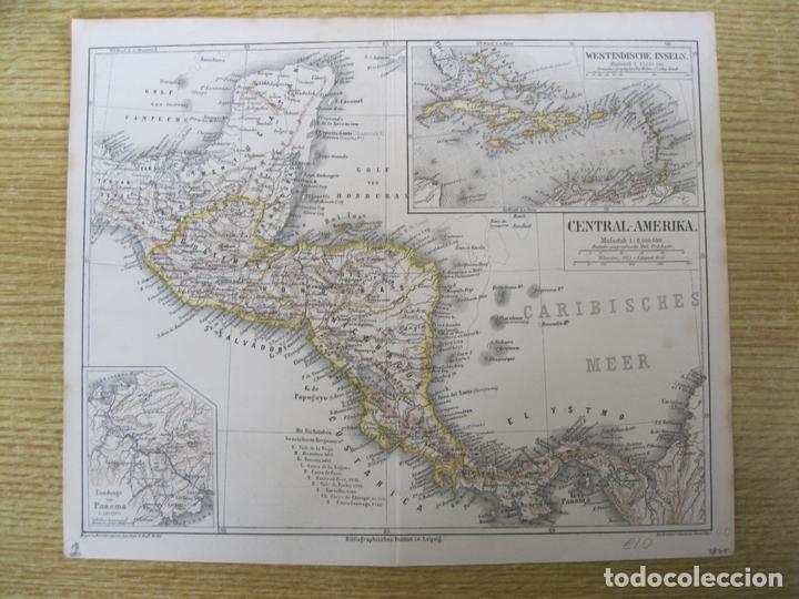 MAPA DE MÉXICO (AMÉRICA CENTRAL), 1875. MEYERS (Arte - Cartografía Antigua (hasta S. XIX))