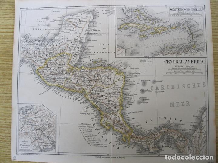 Arte: Mapa de México (América central), 1875. Meyers - Foto 2 - 121870143