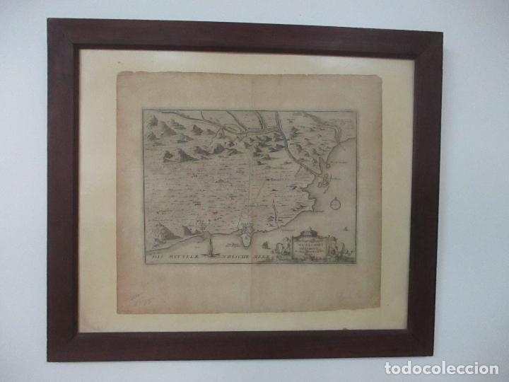 MAPA DE PALAMÓS Y GERONA, CATALUÑA, CATALUNYA, CATALONIA - GRABADO ALEMÁN - AÑO 1702 - MUY RARO (Arte - Cartografía Antigua (hasta S. XIX))