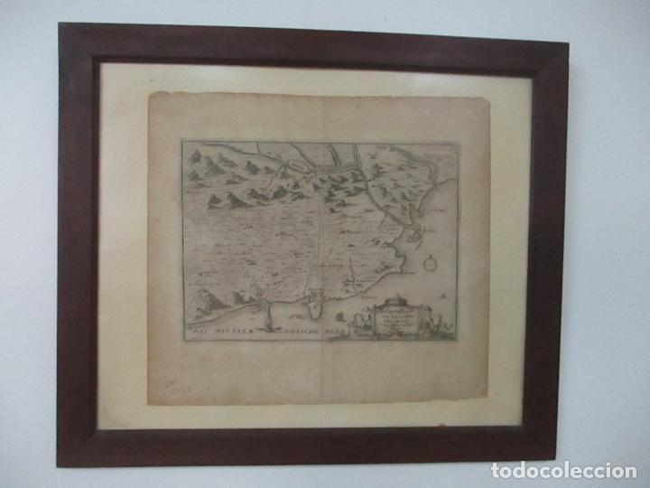 Arte: Mapa de Palamós y Gerona, Cataluña, Catalunya, Catalonia - Grabado Alemán - Año 1702 - Muy Raro - Foto 2 - 122338775