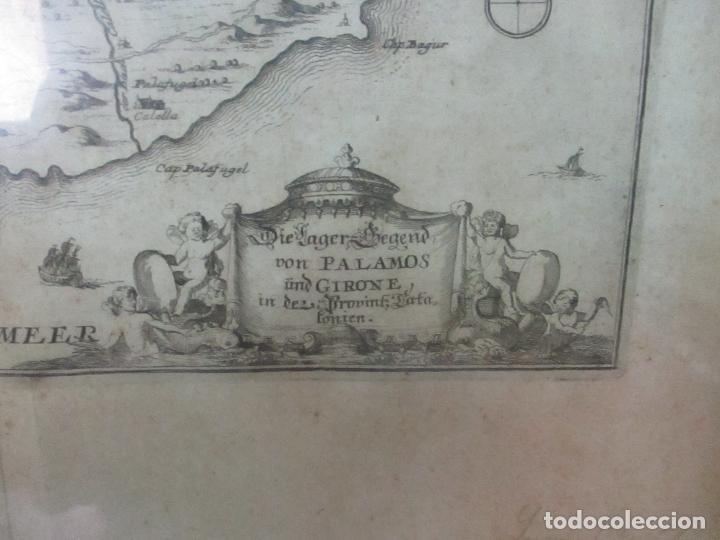Arte: Mapa de Palamós y Gerona, Cataluña, Catalunya, Catalonia - Grabado Alemán - Año 1702 - Muy Raro - Foto 3 - 122338775