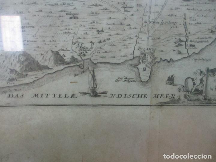 Arte: Mapa de Palamós y Gerona, Cataluña, Catalunya, Catalonia - Grabado Alemán - Año 1702 - Muy Raro - Foto 4 - 122338775