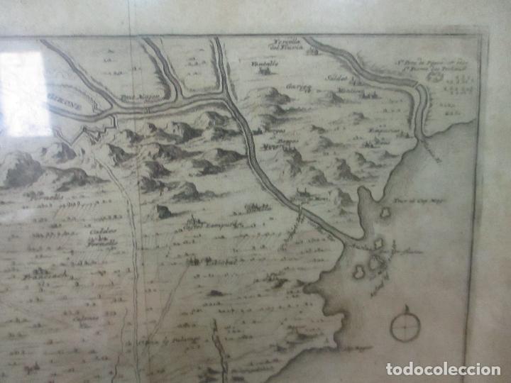 Arte: Mapa de Palamós y Gerona, Cataluña, Catalunya, Catalonia - Grabado Alemán - Año 1702 - Muy Raro - Foto 5 - 122338775