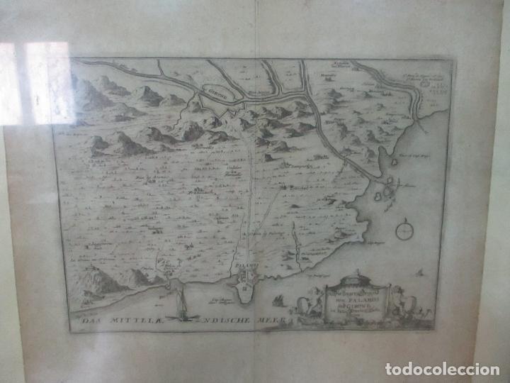 Arte: Mapa de Palamós y Gerona, Cataluña, Catalunya, Catalonia - Grabado Alemán - Año 1702 - Muy Raro - Foto 8 - 122338775
