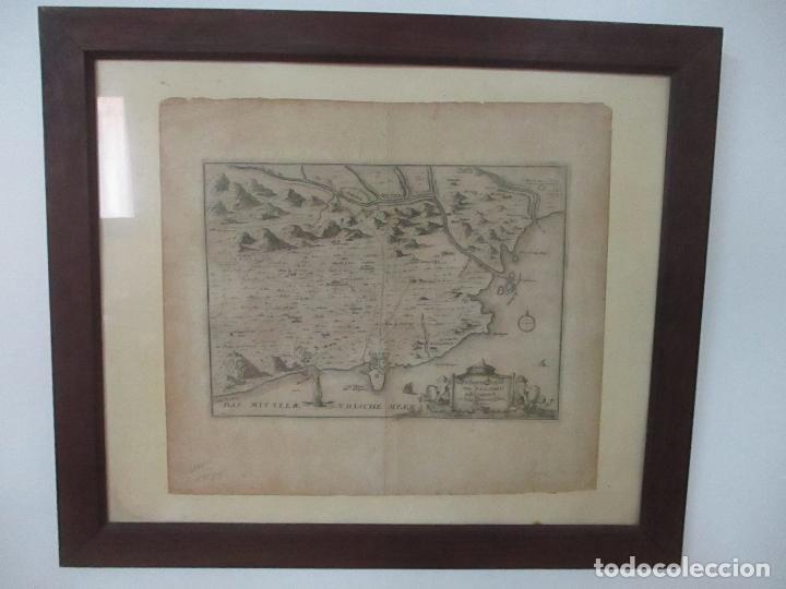 Arte: Mapa de Palamós y Gerona, Cataluña, Catalunya, Catalonia - Grabado Alemán - Año 1702 - Muy Raro - Foto 9 - 122338775