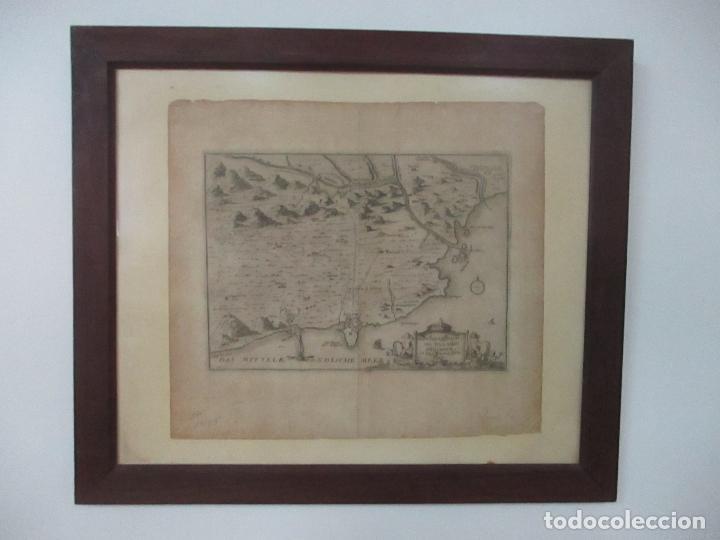 Arte: Mapa de Palamós y Gerona, Cataluña, Catalunya, Catalonia - Grabado Alemán - Año 1702 - Muy Raro - Foto 16 - 122338775