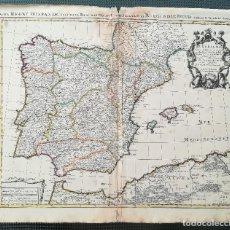Arte: MAPA DE ESPAÑA Y PORTUGAL - G. DE ISLE - AÑO 1695 - ORIGINAL. Lote 122379347