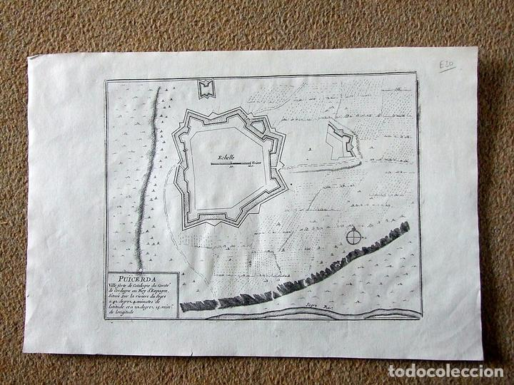 Arte: Mapa de la fortaleza de Puigcerdá en Gerona (Cataluña, España), 1695. Nicolás de Fer - Foto 2 - 122459295