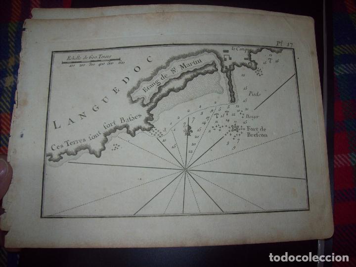 MAPA ANTIGUO S. XVIII EN PAPEL VERJURADO DE LANGUEDOC. 17,5 CM X 23,5 CM. UNA JOYA!!!! (Arte - Cartografía Antigua (hasta S. XIX))