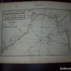 Arte: MAPA ANTIGUO S. XVIII EN PAPEL VERJURADO DE RADE DE MARSEILLE . 17,5 CM X 23,5 CM .UNA JOYA!!!!. Lote 122493231