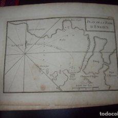 Arte: MAPA ANTIGUO S. XVIII EN PAPEL VERJURADO DE PLAN DE LA RADE D 'ENGIEN. 17,5 CM X 23,5 CM .UNA JOYA!. Lote 122493311