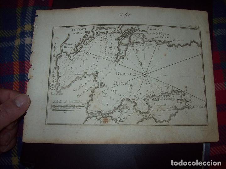 MAPA ANTIGUO S. XVIII EN PAPEL VERJURADO DE TOVLON.GRANDE RADE. 17,5 CM X 23,5 CM .UNA JOYA! (Arte - Cartografía Antigua (hasta S. XIX))