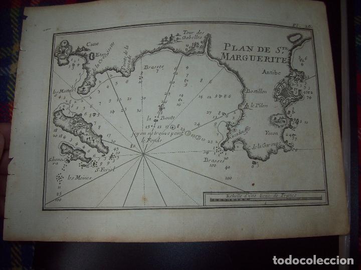 MAPA ANTIGUO S. XVIII EN PAPEL VERJURADO DE PLAN DE STE. MARGUERITE. 17,5 CM X 23,5 CM .UNA JOYA! (Arte - Cartografía Antigua (hasta S. XIX))