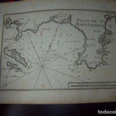 Arte: MAPA ANTIGUO S. XVIII EN PAPEL VERJURADO DE PLAN DE STE. MARGUERITE. 17,5 CM X 23,5 CM .UNA JOYA!. Lote 122493383