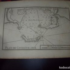 Arte: MAPA ANTIGUO S. XVIII EN PAPEL VERJURADO DE PLAN DE CIVITA VECHIA 17,5 CM X 23,5 CM .UNA JOYA!. Lote 122493435