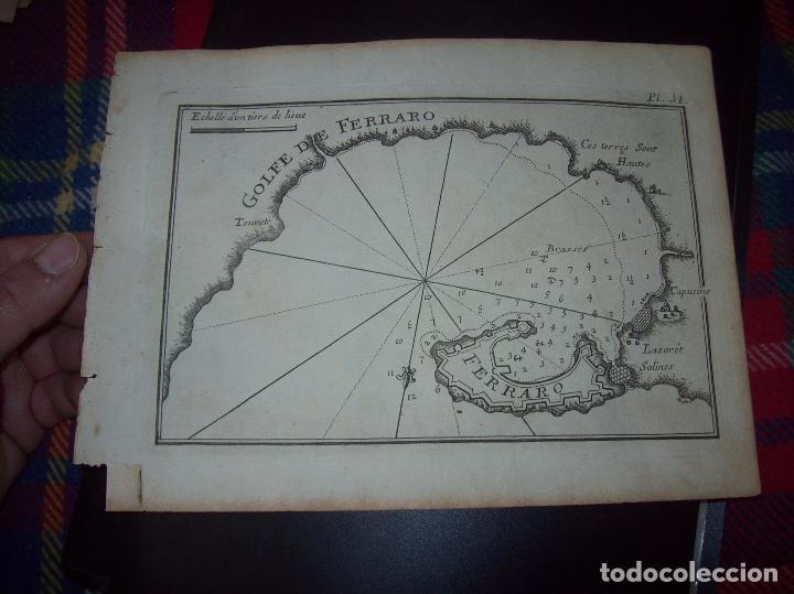 MAPA ANTIGUO S. XVIII EN PAPEL VERJURADO DE GOLFE DE FERRARO 17,5 CM X 23,5 CM .UNA JOYA! (Arte - Cartografía Antigua (hasta S. XIX))