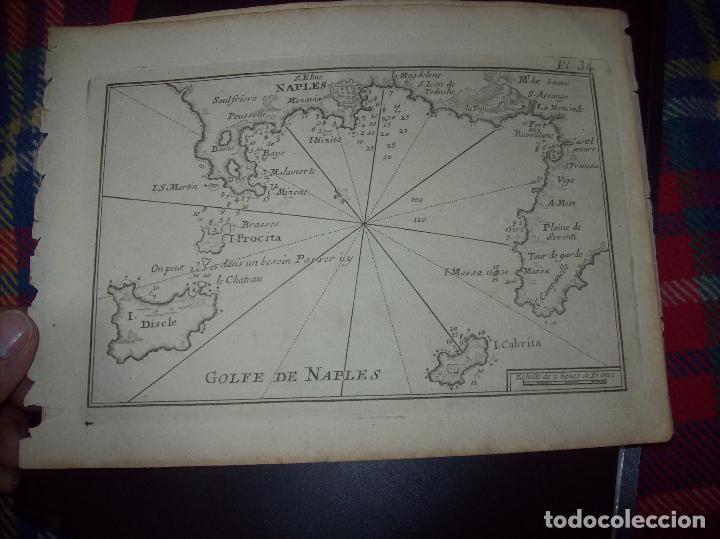 MAPA ANTIGUO S. XVIII EN PAPEL VERJURADO DE GOLFE DE NAPLES. 17,5 CM X 23,5 CM .UNA JOYA! (Arte - Cartografía Antigua (hasta S. XIX))