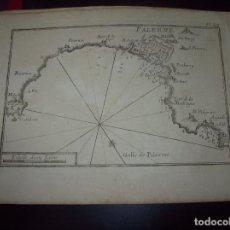 Arte: MAPA ANTIGUO S. XVIII EN PAPEL VERJURADO DE PALERME. GOLFE DE PALERME . 17,5 CM X 23,5 CM . . Lote 122493575