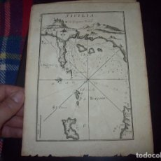 Arte: MAPA ANTIGUO S. XVIII EN PAPEL VERJURADO DE SICILIA. 23,5 X 17,5 CM . UNA JOYA!!!. Lote 122493603