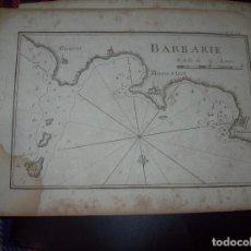 Arte: MAPA ANTIGUO S. XVIII EN PAPEL VERJURADO DE BARBARIE . 17,5 CM X 23,5 CM .UNA JOYA!!. Lote 122558763