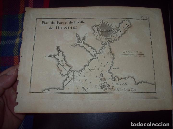 MAPA ANTIGUO S. XVIII EN PAPEL VERJURADO DE PLANO DU PORT ET DE LA VILLE BRINDISI .17,5 CM X 23,5 CM (Arte - Cartografía Antigua (hasta S. XIX))
