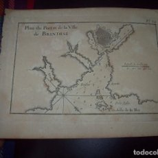 Arte: MAPA ANTIGUO S. XVIII EN PAPEL VERJURADO DE PLANO DU PORT ET DE LA VILLE BRINDISI .17,5 CM X 23,5 CM. Lote 122560035