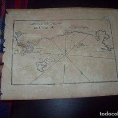 Arte: MAPA ANTIGUO S. XVIII EN PAPEL VERJURADO DE CARTE DU MOULILLAGE DE CORFOU. 17,5 CM X 23,5 CM . Lote 122562171