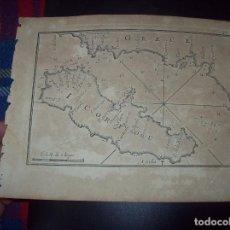 Arte: MAPA ANTIGUO S. XVIII EN PAPEL VERJURADO DE GRECE. I. CORFOU. 17,5 CM X 23,5 CM . UNA JOYA!!!. Lote 122562307