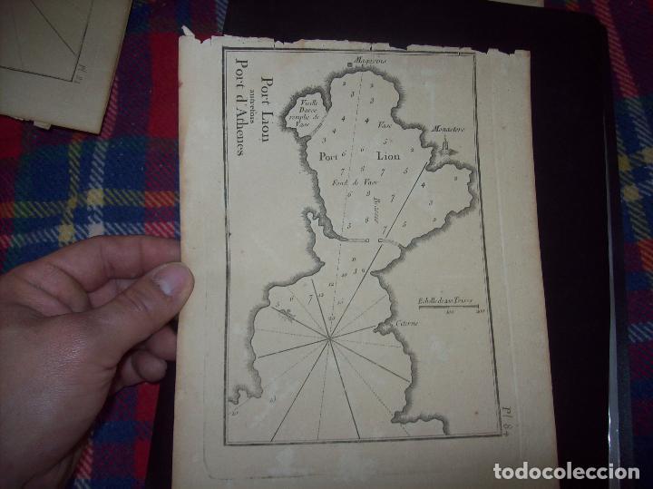 MAPA ANTIGUO S. XVIII EN PAPEL VERJURADO DE PORT LION PORT D' ATHENES. 23,5 CM X 17,5 CM. UNA JOYA!! (Arte - Cartografía Antigua (hasta S. XIX))