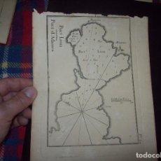 Arte: MAPA ANTIGUO S. XVIII EN PAPEL VERJURADO DE PORT LION PORT D' ATHENES. 23,5 CM X 17,5 CM. UNA JOYA!!. Lote 122564071