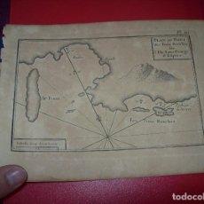 Arte: MAPA ANTIGUO S. XVIII EN PAPEL VERJURADO DE PORT DES TROIS BOUCHES. ILLE GEORGE. 17,5 CM X 23,5 CM. . Lote 122565675