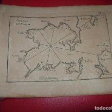 Arte: MAPA ANTIGUO S. XVIII EN PAPEL VERJURADO DE GOLPHE DU VOLLO . 17,5 CM X 23,5 CM. UNA JOYA!!!. Lote 122565999