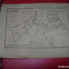 Arte: MAPA ANTIGUO S. XVIII EN PAPEL VERJURADO DE ISLE ESTAMPALIE . 17,5 CM X 23,5 CM. UNA JOYA!!!!. Lote 122568227
