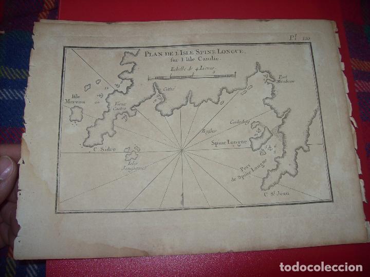 MAPA ANTIGUO S. XVIII EN PAPEL VERJURADO DE PLANO DE ISLE SPINE LONGUE. 17,5 CM X 23,5 CM. (Arte - Cartografía Antigua (hasta S. XIX))