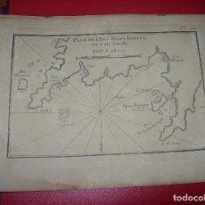 Arte: MAPA ANTIGUO S. XVIII EN PAPEL VERJURADO DE PLANO DE ISLE SPINE LONGUE. 17,5 CM X 23,5 CM. . Lote 122568459