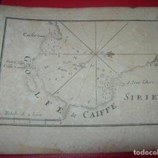 Arte: MAPA ANTIGUO S. XVIII EN PAPEL VERJURADO DE SIRIE. GOLFE DE CAIFFE . 17,5 CM X 23,5 CM . UNA JOYA!!. Lote 122627499