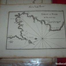 Arte: MAPA ANTIGUO S. XVIII EN PAPEL VERJURADO DE GOLFE ET RADE D' AJACIO. 17,5 CM X 23,5 CM . UNA JOYA. Lote 122627619