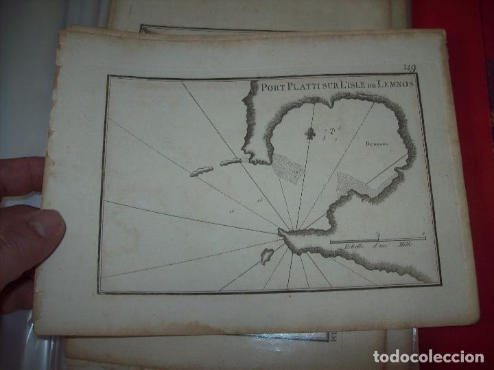 MAPA ANTIGUO S. XVIII EN PAPEL VERJURADO DE PORT PLATTI SUR L'ISLE DE LEMNOS. 17,5 CM X 23,5 CM . (Arte - Cartografía Antigua (hasta S. XIX))