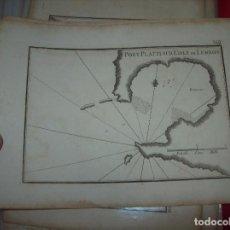Arte: MAPA ANTIGUO S. XVIII EN PAPEL VERJURADO DE PORT PLATTI SUR L'ISLE DE LEMNOS. 17,5 CM X 23,5 CM .. Lote 122628239