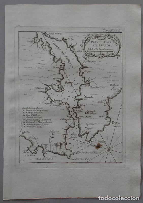 MAPA DEL PUERTO Y CIUDAD DE O FERROL ( A CORUÑA, GALICIA, ESPAÑA), 1764. BELLIN (Arte - Cartografía Antigua (hasta S. XIX))