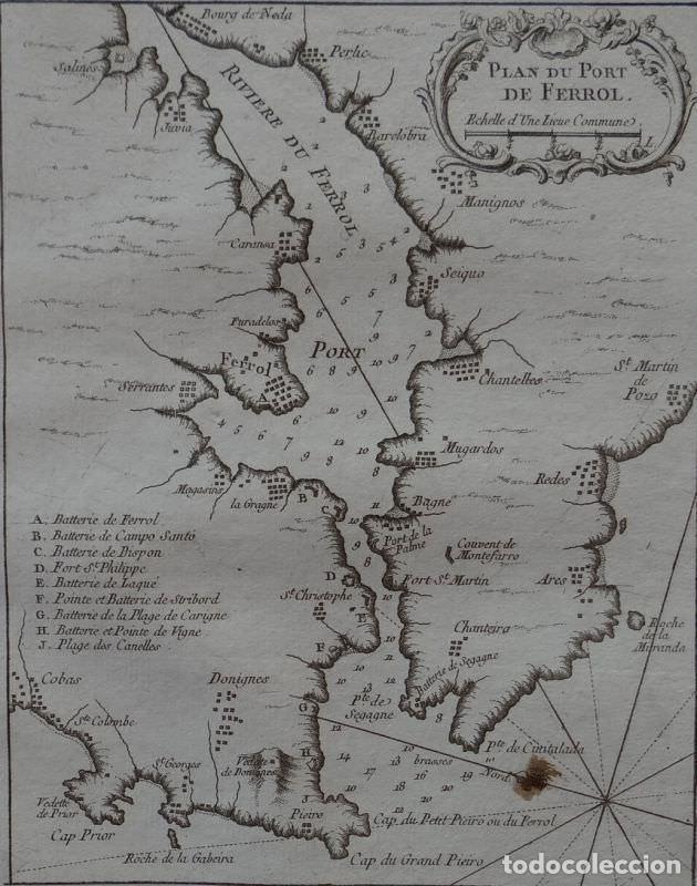 Arte: Mapa del puerto y ciudad de O Ferrol ( A Coruña, Galicia, España), 1764. Bellin - Foto 2 - 257551260