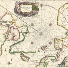 Arte: JAN JANSZOON - MAPA DEL ARTICO (1638) - ATLAS NOVUS - LITOGRAFIA VINTAGE 1979. Lote 122964687