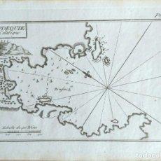 Arte: MAPA ANTIGUO CADAQUÉS GERONA AÑO 1764 CON CERTIF. AUTENTICIDAD. PORTULANOS ANTIGUOS CADAQUÉS. Lote 107004775