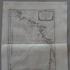 Arte: MAPA DEL LITORAL OCCIDENTAL DE FRANCIA Y NORTE DE ESPAÑA, 1764. NICOLAS BELLIN. Lote 123344915