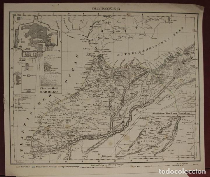 MAPA DEL NORTE DE MARRUECOS Y SUR DE ESPAÑA Y PORTUGAL, 1846. CARL FLEMMING (Arte - Cartografía Antigua (hasta S. XIX))