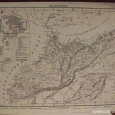Arte: MAPA DEL NORTE DE MARRUECOS Y SUR DE ESPAÑA Y PORTUGAL, 1846. CARL FLEMMING. Lote 123471987