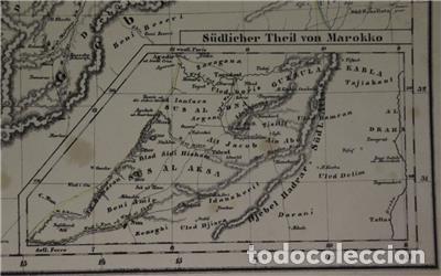 Arte: Mapa del norte de Marruecos y sur de España y Portugal, 1846. Carl Flemming - Foto 4 - 123471987