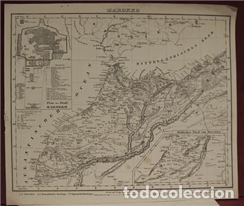 Arte: Mapa del norte de Marruecos y sur de España y Portugal, 1846. Carl Flemming - Foto 8 - 123471987